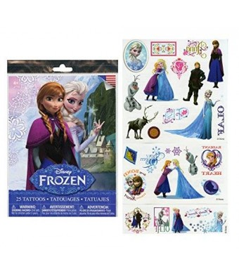 Disney Frozen 25 Tattoos (Includes Princess Anna, Queen Elsa, Olaf, Kristoff and Sven) By Disney
