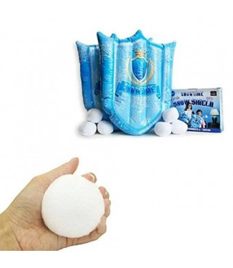 Snowtime Anytime Indoor Snowball Fight Set - Includes 2 Inflatable Snowball Shields and 6 Snowballs