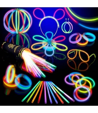 100 Glow Stick Party Pack- 8 HotLite Premium bracelets