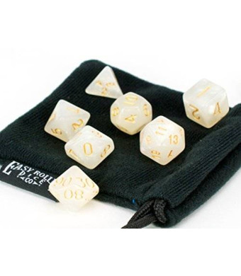 7 Piece Dice Set Ivory Opaque Polyhedral | PRISTINE Edition | FREE Carrying Bag | Hand Checked Quality With | Money Back Guarantee