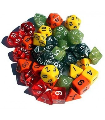 High City Books 30+ Polyhedral Dice | Random | 35 Dice in 5 Complete Sets