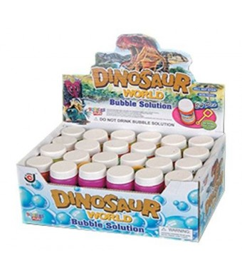 Liberty Imports Dinosaur World Bubble Solution Refill Bottles with Wand (24 pack) - 2 oz