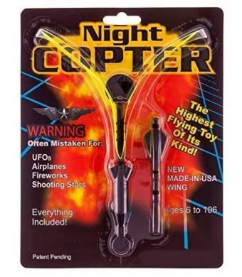 Night Copter Toy Night Copter Light up Flying Helicopter Slingshot UFO Toy with LED