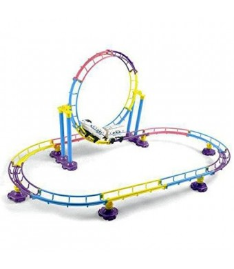 Liberty Imports High Speed Roller Coaster Bullet Train Toy Building Set (77 Pcs)