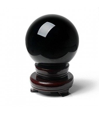 "Amlong Crystal 2"" (50mm) Natural Black Divination Sphere Crystal Ball with Stand"