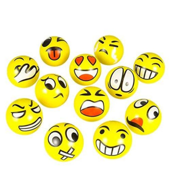 happy deals FUN Emoji Face Squeeze Balls- 12 ~ 3'' Stress Relax Emotional Toy Balls ~ Fun Office Holiday Gift ~ Stocking Stuffer ~ Gag Toy
