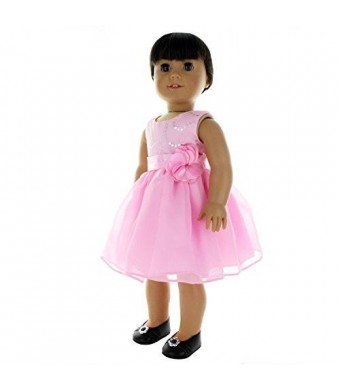 Doll Clothes - Pink Dress Clothes with Flower Belt Fits American Girl Doll, My Life Doll, Our Generation and other 18 inch Dolls