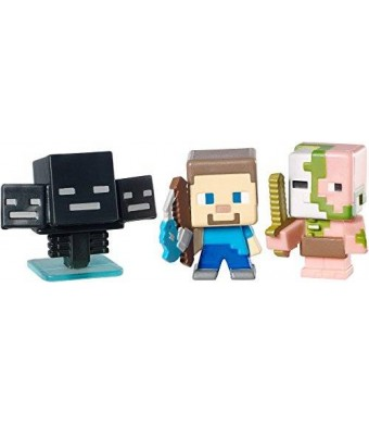 Mattel Minecraft Collectible Figures Zombie Pigman, Wither and Fishing Steve 3-Pack, Series 2