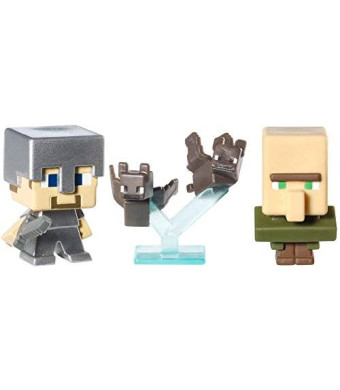 Mattel Minecraft Collectible Figures Bats, Steve with Iron Armor and Villager 3-Pack, Series 2