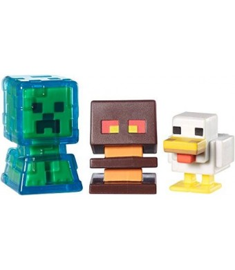 Mattel Minecraft Collectible Figures Chicken, Electrified Creeper and Magma Cube 3-Pack, Series 2