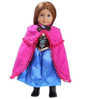 """Anna-Inspired Doll Clothes (Includes Dress, Shawl, Boots) for American Girl Doll: Princess Outfit By """"Dress Along Dolly"""""""