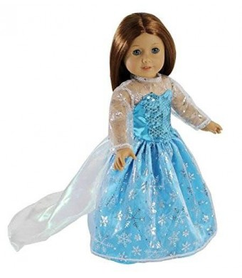 Elsa Inspired Princess Doll Clothes for American Girl Dolls: Stunning Snowflake Sparkle Dress By Dress Along Dolly