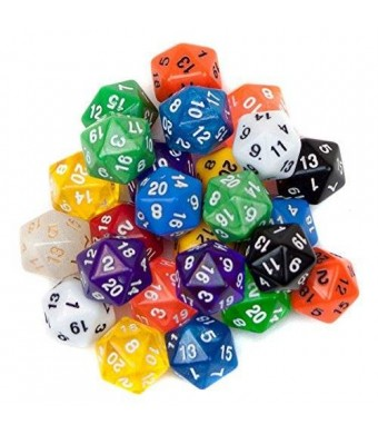 SmartDealsPro 10 Pack of Random Color D20 Polyhedral Dice DND RPG MTG Table Games
