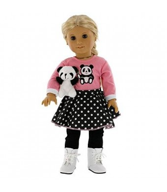 """Dress Along Dolly Panda Inspired Doll Clothes for American Girl and 18"""" Dolls - Includes Shirt, Skirt, Leggings, Shoes, and Panda"""