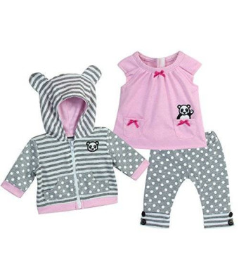 15 Inch Baby Doll Outfit in Pink and Gray by Sophia's, Complete 3 Pc Set Includes Panda Bear Tunic, Leggings and Sweatshirt Panda