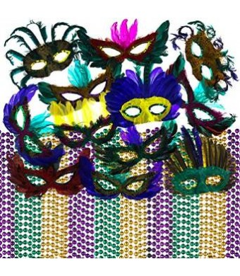 Prextex Mardi Gras Beads and Feather Masks Party Pack