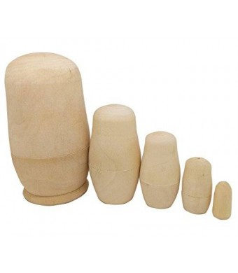 LittleTiger 5inch Set of 5pcs Unpainted Russian Nesting Doll , Blank Doll , Make Your Own Doll