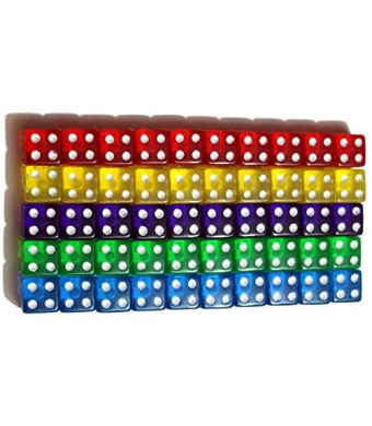 High City Books 50 6-Sided Dice | 10 x 5 Different Colors