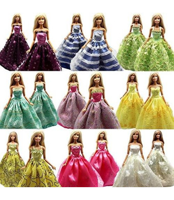 Play & Joy 5 Pcs Handmade Fashion Wedding Party Gown Dresses and Clothes for Barbie Doll Xmas Gift