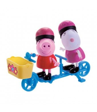 Zoofy International Peppa Pig - Peppa and Suzy Sheep Bicycling Together Play Set