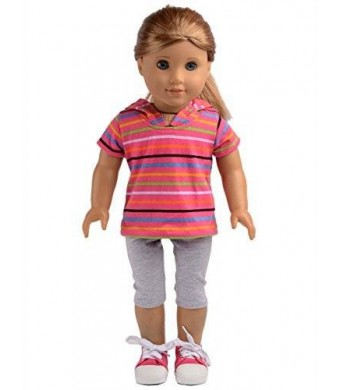 sweet dolly Pink Striped Short Sweater with Hat Pants Sets Fits 18 Inch American Girl Doll Clothes