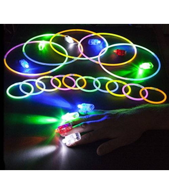 """PartySticks 100 Long Lasting 8"""" Glowsticks AND 40 Super Bright Rave LED Finger Lights Lamps - Assorted Color Glow Stick Party Pack"""