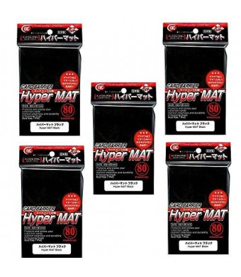 KMC Hyper Matte Sleeves Black ×5 Sets (5 Packs/total 400 Sheets) ( Japan Import ) Made in Japan