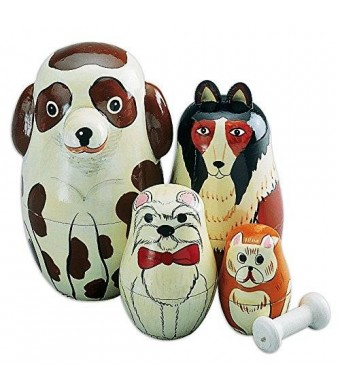 "Bits and Pieces Nesting Dogs-Hand Painted Wooden Nesting Dolls Matryoshka - Set of 5 Dolls From 5"" Tall"