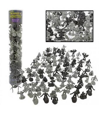 SCS Direct Monster Action Figure Bucket - Big Bucket of 100 Horror Toy Figures - From Dracula to Frankenstein to Giant Spiders