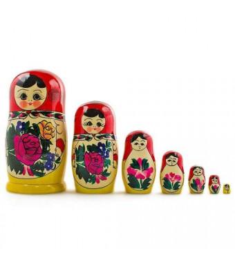 "7"" Set of 7 Semenov Traditional Hand Painted Wooden Matryoshka Russian Nesting Dolls"