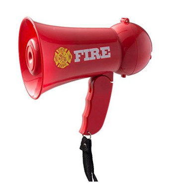 Dress Up America Pretend Play Kids Fire Fighter's Megaphone (Bullhorn) with Siren Sound and Handheld Mic Toy