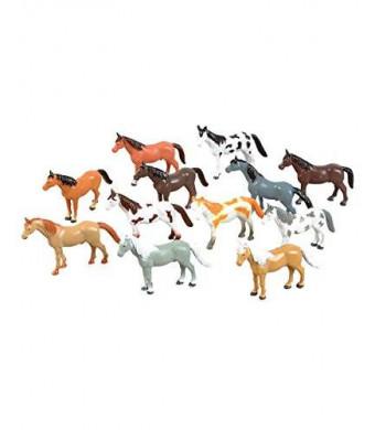 "Rhode Island Novelty 12 Horse Figures - 3"" to 4"" Plastic"