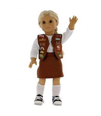 """Dress Along Dolly Girl Scout Brownie Inspired Doll Outfit for American Girl and 18"""" Dolls (5pc Includes Shirt, Shoes, Skirt, Sneakers, and Vest)"""