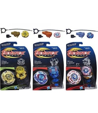 Hasbro Beyblade Legends BB-99 Hades Kerbecs BD145DS Top, BB-70 Galaxy Pegasus W105R2F Top and BB-88 Meteo L-Drago LW105LF Top Bundle