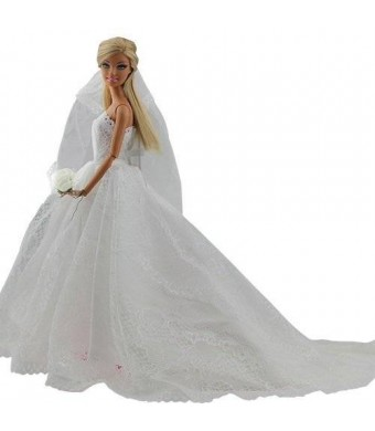 Barwa Princess Evening Party Clothes Wears Dress Outfit Set for Barbie Doll with Veil
