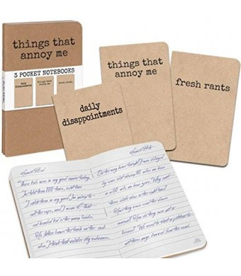 Archie McPhee - Accoutrements Grump Notebooks, Things That Annoy Me book set of 3 Funny Gag Gift NEW