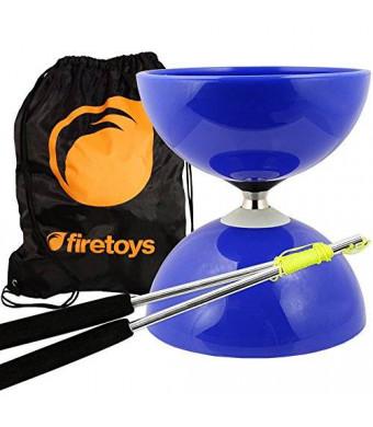 Firetoys Diabolo Blue Big Top - Jumbo Bearing Diabolos Set, Ali Dream Metal Diablo Sticks, Diabolo string and Bag!
