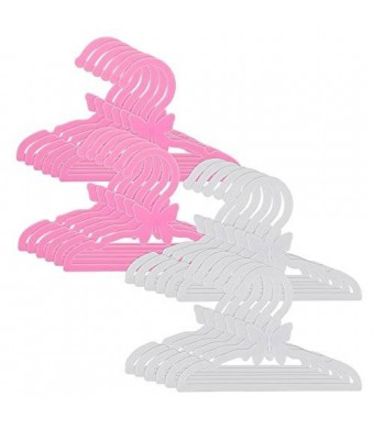 "Dress Along Dolly Doll Clothes Hangers for 18"" American Girl Dolls - Set of 24 Pink and White Butterfly Hangers"
