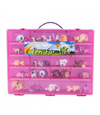 Littlest Pet Shop / Uggly Compatible Organizer Pink/Strawberry- Fun for LifeTM is Pefect Compatible Storage Case for LPS- Fits up to 60 Characters