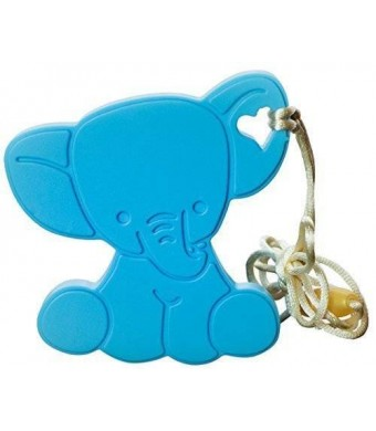 Elly the Elephant infant teether toy – non-toxic and BPA free soothing silicone makes the perfect baby shower gift (giraffe, ball and rattle alternative) designed in the USA – Boy Blue