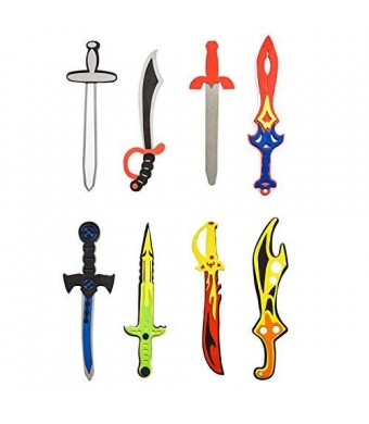 Assorted Foam Toy Swords for Children with Different Designs Including Ninja, Pirate, Warrior, and Viking (8 Pack) by Super Z Outlet