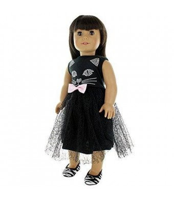 Pink Butterfly Closet Doll Clothes - Cute Cat Black Dress Outfit Fits American Girl Doll, My Life Doll, Our Generation and other 18 inch Dolls