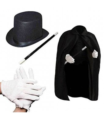 """Prextex Child's Halloween Magician Role Play Dress up Costume Set - Magician's Cape Felt Top Hat Pair of White Magician Gloves 12"""" Magic Wand"""