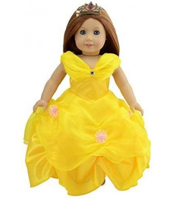 dreamtoyhouse Halloween Doll Clothes Princess Belle Royal Ball Gown and Golden Hairpin for 18 Inch American Girl Dolls and Similar