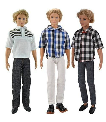E-TING 3 Sets Casual Wear Plaid Doll Clothes Jacket Pants Outfits For Ken Barbie Dolls