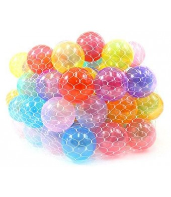 "PowerTRC Non-Toxic 100 ""Phthalates Free"" Crush Proof Non-Recycled Quality Clear 10 Colors Play Balls"