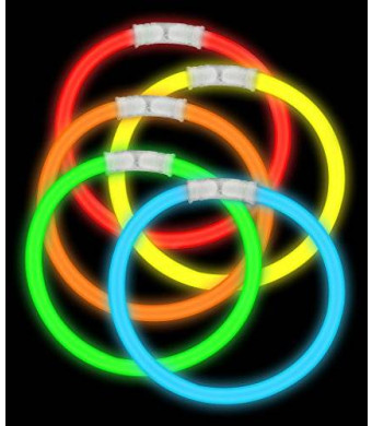 "Fun Central AS406 8"" Glowsticks Glow Stick Bracelets Assorted Colors (Tube of 100)"