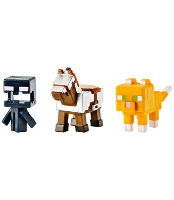 Mattel Minecraft Mini Figure 3-Pack, Armored Horse, Screaming Enderman and Tabby Cat