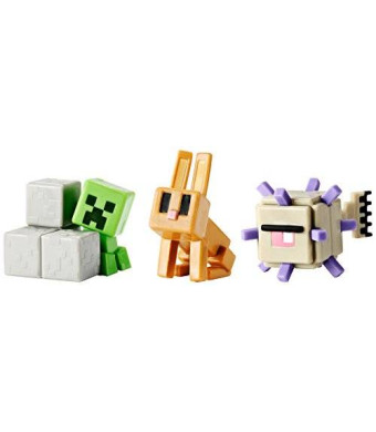 Mattel Minecraft Mini Figure 3-Pack, Elder Guardian, Sneaky Creeper and Rabbit
