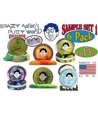 Crazy Aaron's Thinking Putty Mini Tin Gift Set Bundle (Sample Set 1) with Super Scarab